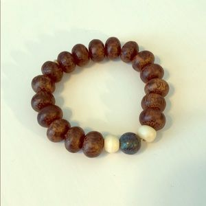 Natural Wood and Bone Bead Bracelet